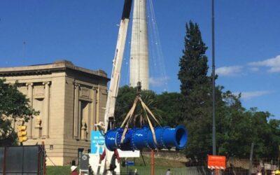 Reubicación de servicios de agua potable en Plaza España